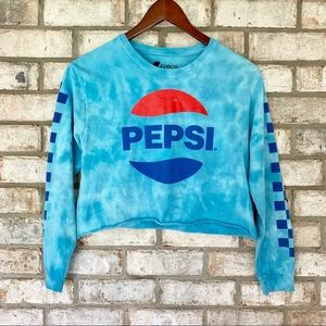 Cropped Tie Dye Graphic Pepsi Long Sleeve T-Shirt